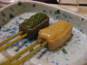 "Miso and green tea glazed ""fu"" (a wheat gluten & rice paste mixture) at tofu restaurant near Machida Station, Tokyo"