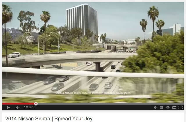Screen capture of 2014 Nissan Sentra commercial