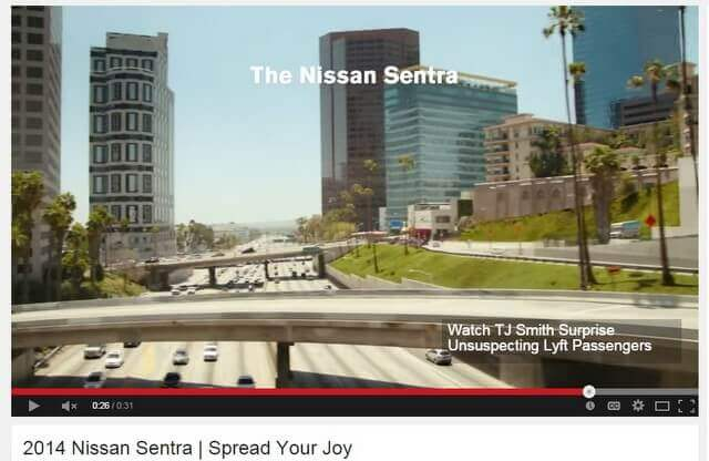 Nissan Sentra car commercial - 5th looking SW - tiny