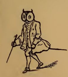 Owl person drawing by W.M. Thackeray from Thackerayana (1875) - page 387