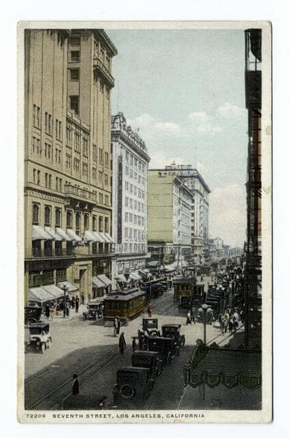 Postcard of 7th Street in Los Angeles from nypl digital collections