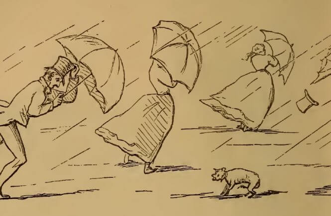 Rainy weather and stressed umbrellas, drawing by W.M. Thackeray from Thackerayana (1875) - page 460