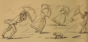Rainy weather and stressed umbrellas, drawing by W.M. Thackeray from Thackerayana (1875) - page 460 - B