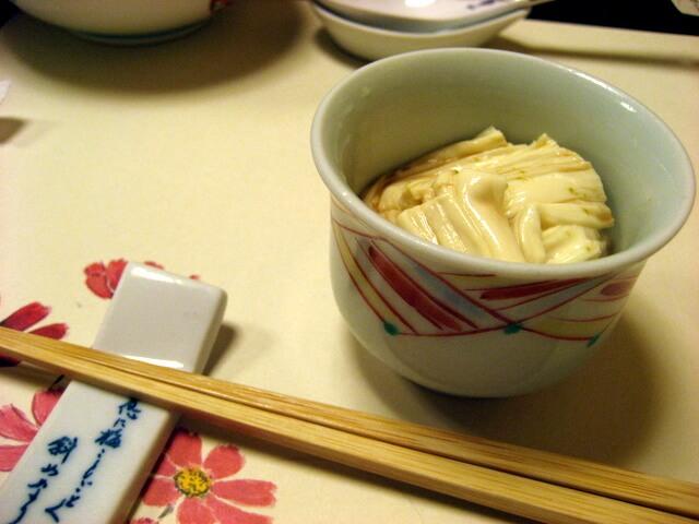 "Seasoned yuba (""tofu skin"") at tofu restaurant near Machida Station, Tokyo"