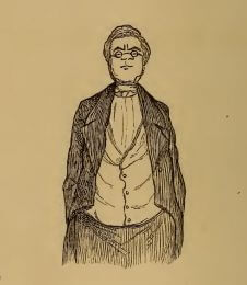 Self portrait, drawing by W.M. Thackeray from Thackerayana (1875) - page 492