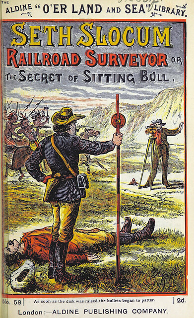 """Seth Slocum, Railroad Surveyor, or The Secret of Sitting Bull"", book cover from the British Library"