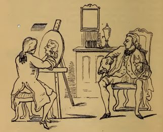 Sitting for a portrait, drawing by W.M. Thackeray from Thackerayana (1875) - page 432
