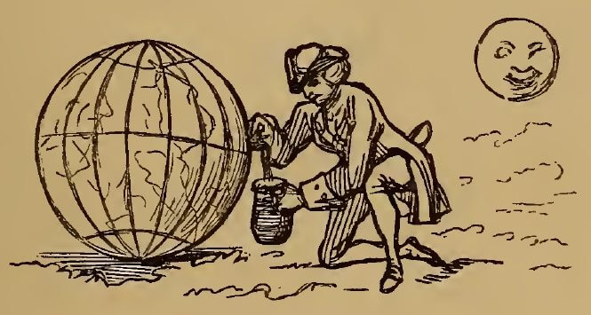 Tapping the earth, drawing by W.M. Thackeray from Thackerayana (1875) - page 363