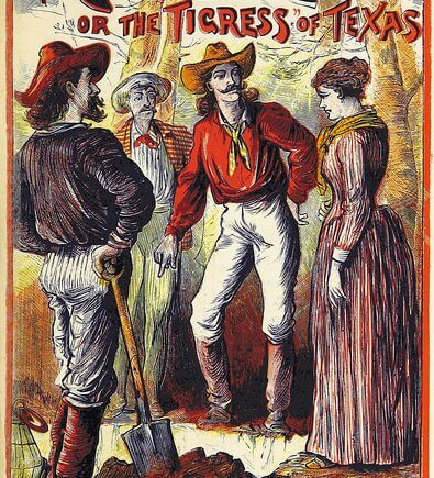 """""""The Cowboy Clan, or the Tigress of Texas"""", book cover from the British Library"""