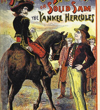 """The Texas Tramp, or Solid Sam the Yankee Hercules"", book cover from the British Library"