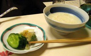 Tsukemono (pickles) and rice in soymilk at tofu restaurant near Machida Station, Tokyo