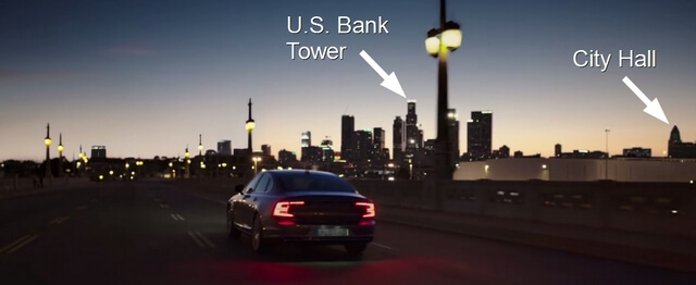 Annotated screen capture of Volvo S90 commercial on the 4th Street bridge