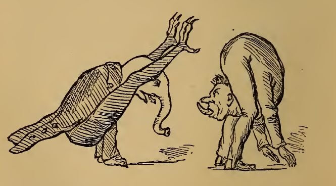 Weird postures, drawing by W.M. Thackeray from Thackerayana (1875) - page 216