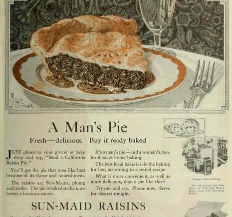 A Man's Pie - ad from California Associated Raisin Co. in 1933 Saturday Evening Post