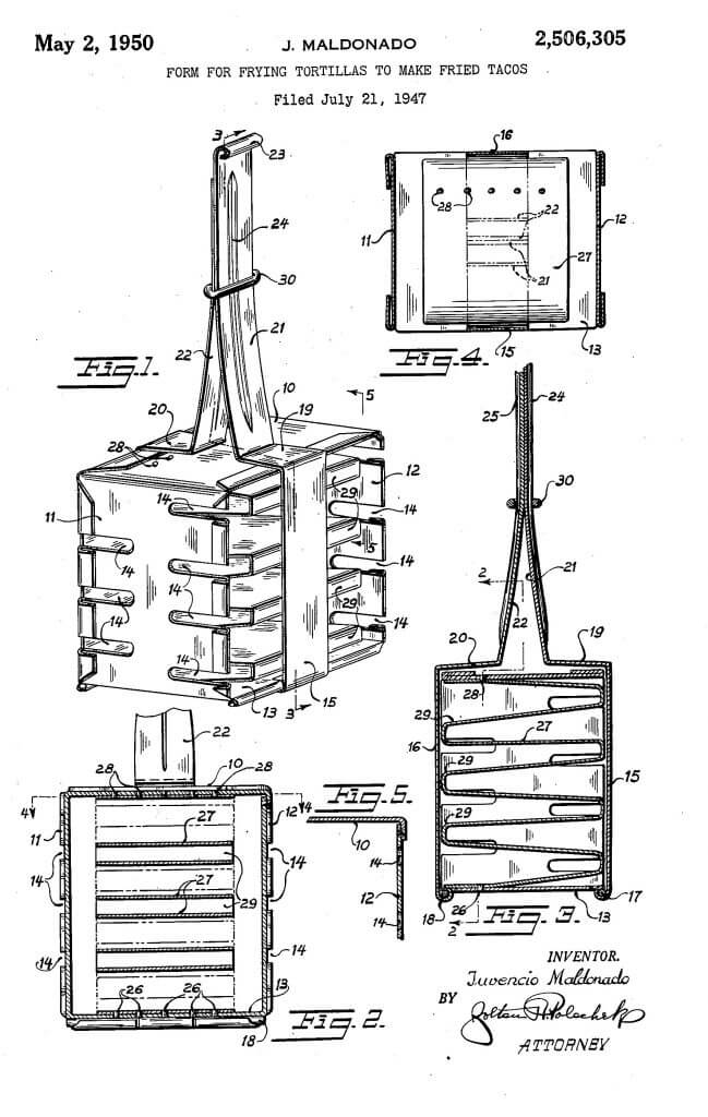 Illustration page from US Patent 2506305 by Maldonado - Form for frying tortillas