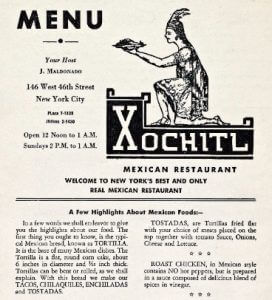 Xochitl mexican restaurant menu from 1959 - New York - from NYPL menu collection