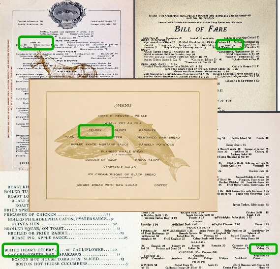 Collage of menus with celery, menus from NYPL