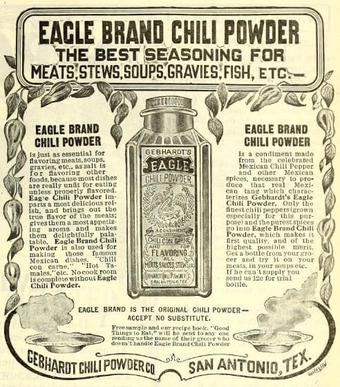 Advertisement for Gebhardt Eagle Brand Chili Powder (1910)