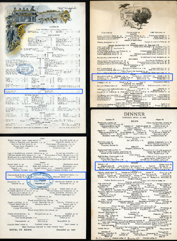 Four old restaurant menus with game offerings highlighted