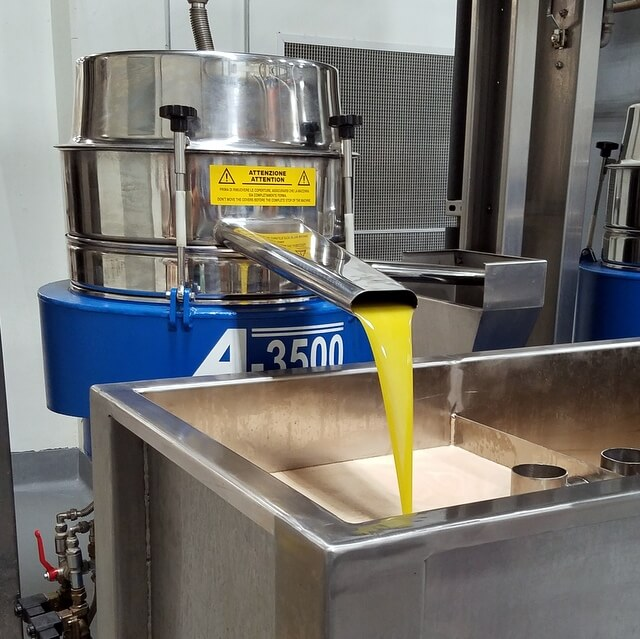 Final extra virgin olive oil separation at Cobram Estate olive oil plant