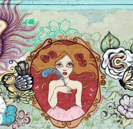 Detail of Maverique Style House mural on I Street between 20th and 21st. Portrait by Ursula X. Young, other features by Meme, Reds, and Beth Emmerich