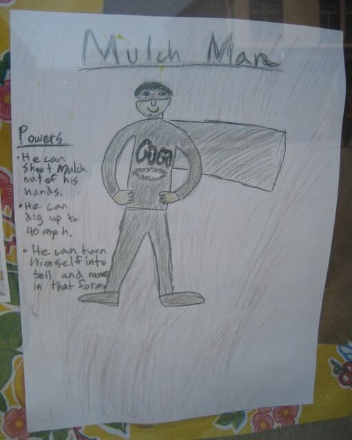 """""""Mulch Man"""", a garden superhero at the Edible Schoolyard"""