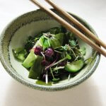 Japanese salad of cucumber, wakame sea vegetable, and radish sprouts (Tosa Sea Salad)