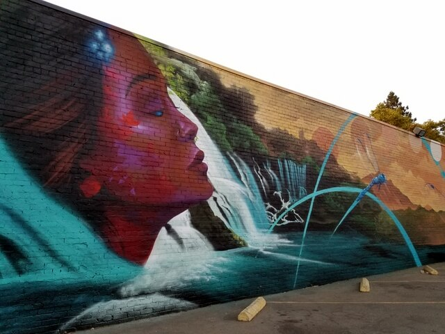 Woman, Waterfall and Dragonfly on Mural on L Street between 17th and 18th, Sacramento by Anthony Padilla