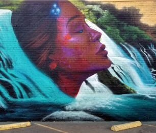 Woman and Waterfall on Mural on L Street between 17th and 18th by Anthony Padilla