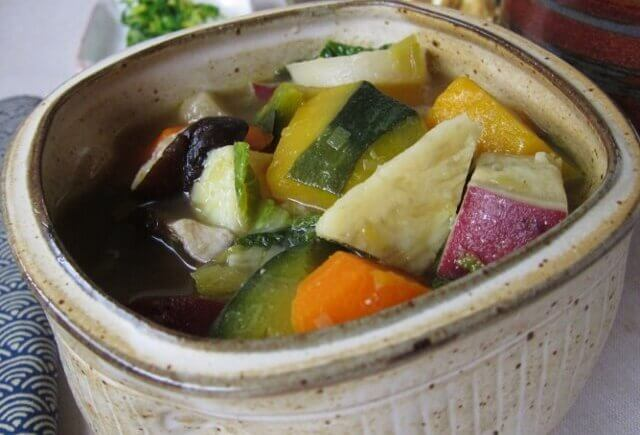 Vegetarian Japanese vegetable stew with miso