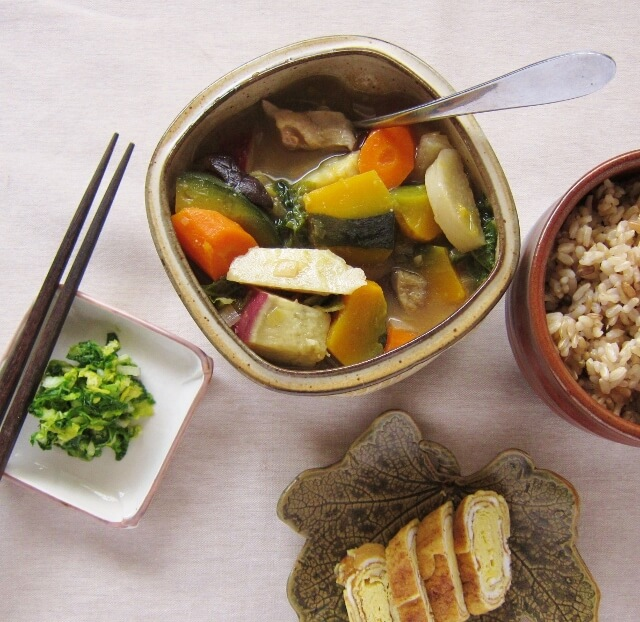 Vegetarian Japanese vegetable stew with miso broth