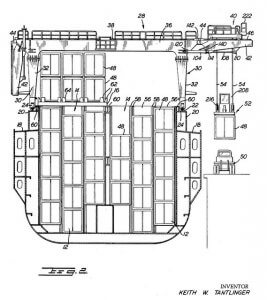 US Patent 3042227 - Shipboard Freight Container Transferring Apparatus - ship cross section