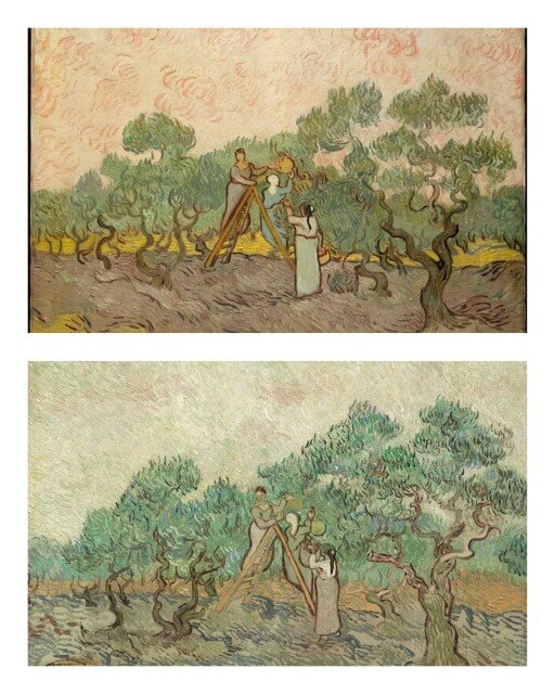 The Olive Orchard - Vincent Van Gogh (1889). Upper: Metropolitan Museum of Art; Lower: National Gallery of Art