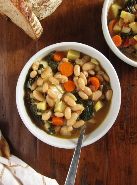Kale, bean and vegetable soup