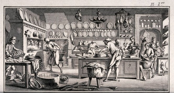 Baker's Kitchen. Engraving by Benard. Wellcome Collection m2wrjvfj