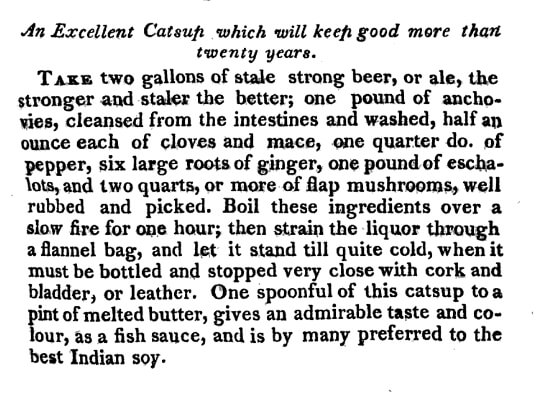 Catsup recipe from The Universal Receipt Book by Priscilla Homespun