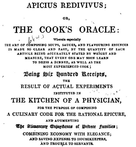 Title page of Cook's Oracle, Apicius Redivivus - first edition 1817