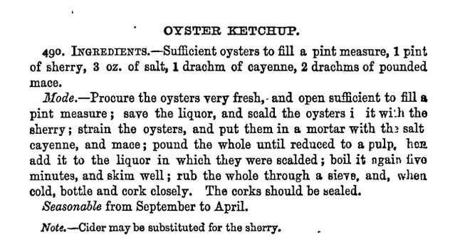 Oyster ketchup recipe from The Book of Household Management, by Isabella Beeton