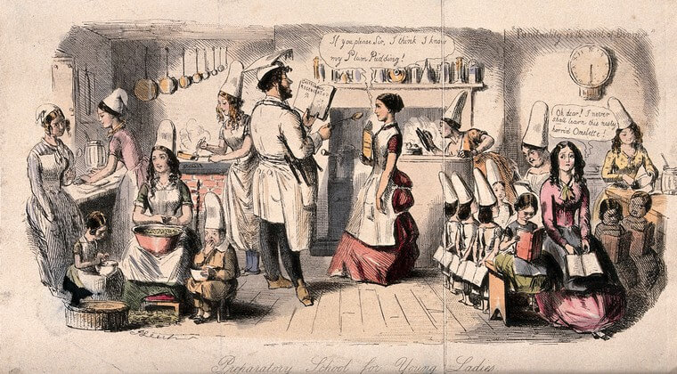 Young ladies in a kitchen being instructed in the art of cooking. Coloured etching by John Leech. Wellcome Collection. crdmuxr6