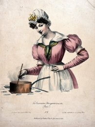 Woman stirring a saucepan on a stove, lithograph by Charles Philipon, from the Wellcome Collection