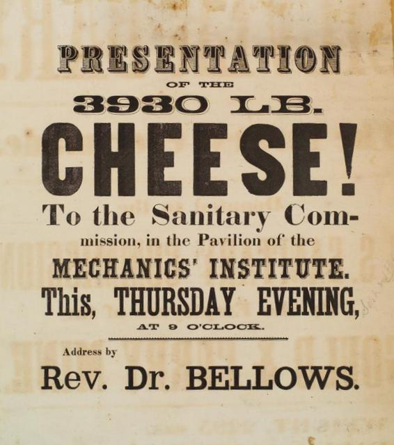 """Poster advertising the """"3930 lb. cheese"""" at the 1864 Mechanics' Institute fair in San Francisco"""