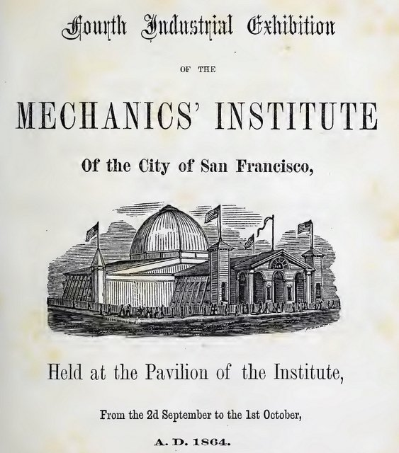 Detail of cover page for report on fourth industrial exhibition of the Mechanics' Institute 1864