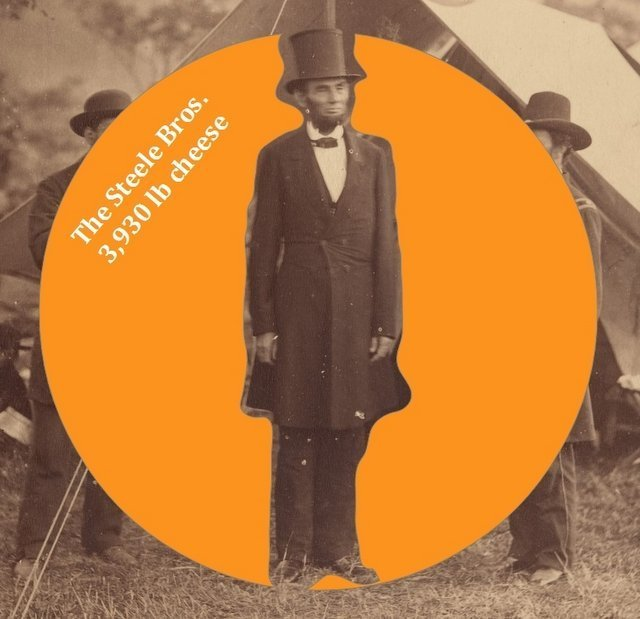 President Lincoln in 1862 and the great California cheese from Steele Bros (round added digitally in 2019) - original from Met Museum