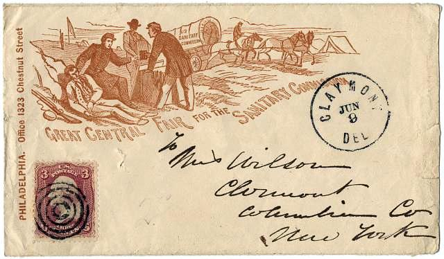 Civil War envelope promoting Great Central Fair for the Sanitary Commission - 1864 - from Library of Congress