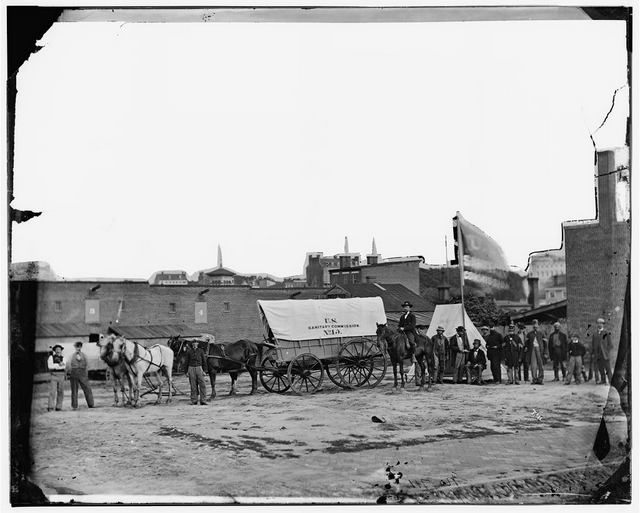 US Sanitary Commission supply wagon during the Civil War - Photo by James Gardner, April 1865 - from Library of Congress