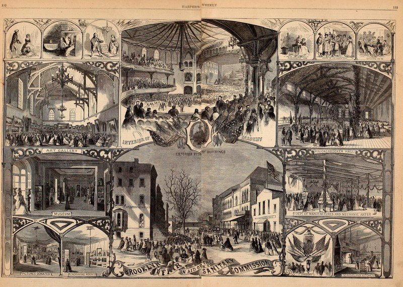 Engraving showing scenes from the Brooklyn Fair In Aid Of The Sanitary Commission, from Harper's Weekly, March 5 1864
