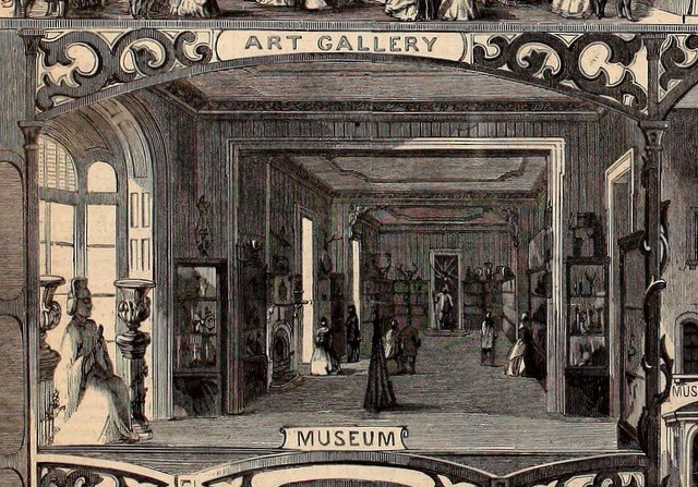 Engraving showing the museum portion from scenes from the Brooklyn Sanitary Fair engraving in Harper's Weekly, March 5 1864-2