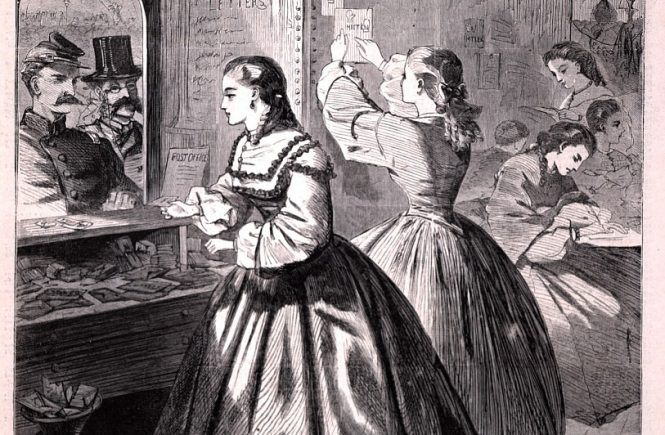 """""""Anything for me, if you please?"""" – Post Office of the Brooklyn Sanitary Fair, engraving by Winslow Homer in Harper's Weekly, 1964"""