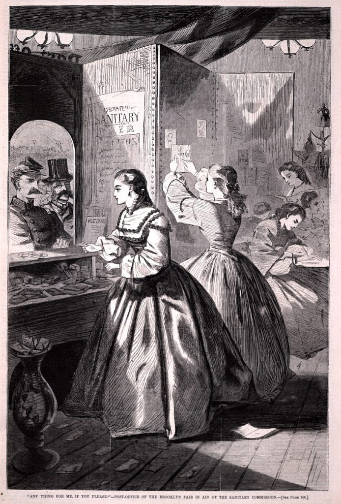"""Engraving by Winslow Homer: A woman asks """"Anything for me, if you please?"""" at the Post-office of the Brooklyn Sanitary Fair. Published in Harper's Weekly, March 5, 1864"""