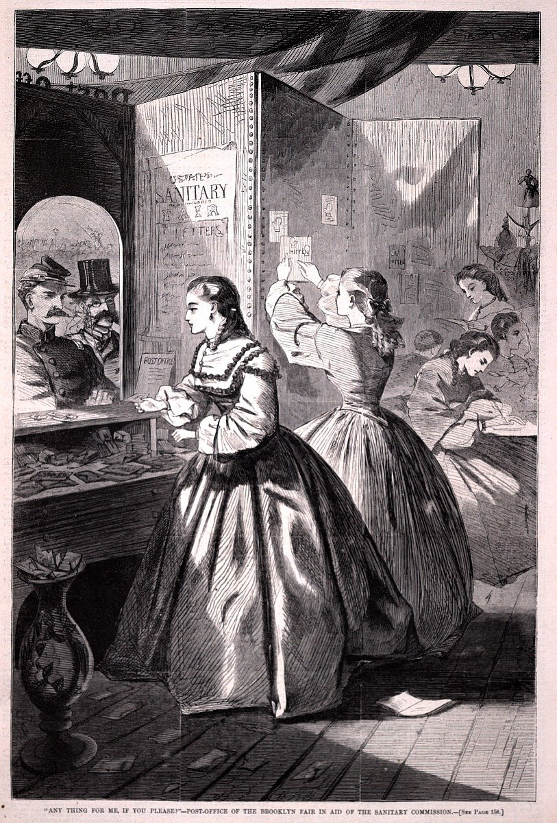 """Anything for me, if you please?"" – Post Office of the Brooklyn Sanitary Fair, engraving by Winslow Homer in Harper's Weekly, 1964"